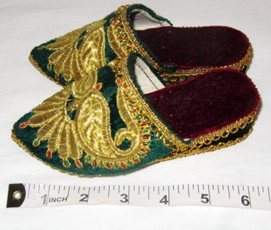 UZBEK HAND GOLD EMBROIDERY SMALL SLIPPERS CHILD'S SHOES