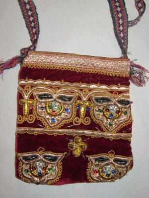 BEAUTIFUL UZBEK GOLD HANDMADE MBROIDERY VELVET BAG