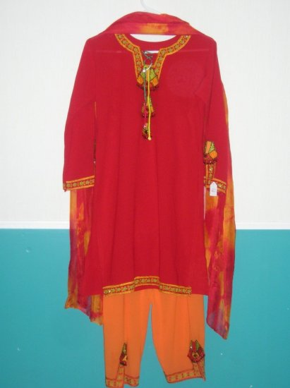 Shalwar Kameez - Red and Orange Georgette