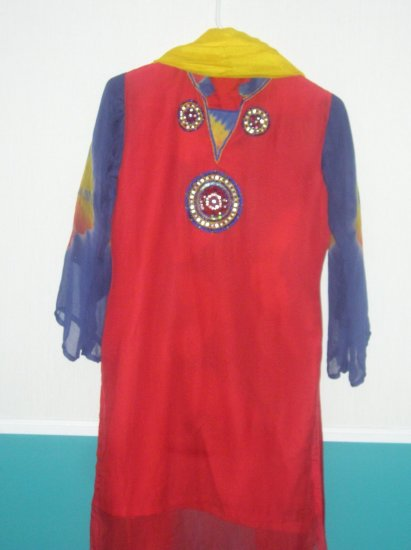 Shalwar Kameez - Red, Blue, Yellow Shafoon and China Silk
