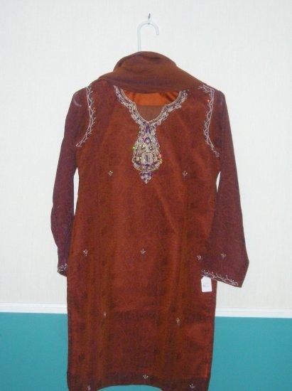 Shalwar Kameez - Brown Organza