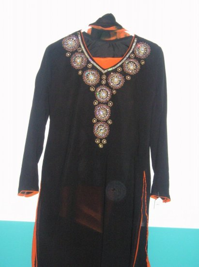 Shalwar Kameez - Black and Orange Georgette