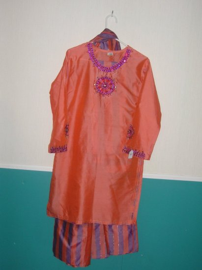 Shalwar Kameez - Orange with Purple lining Polyster