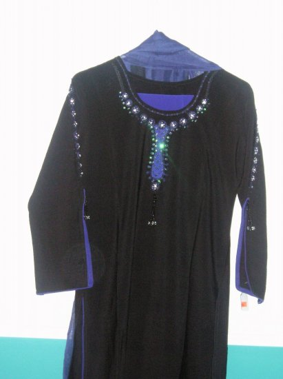 Shalwar Kameez -Black and Blue Polyster