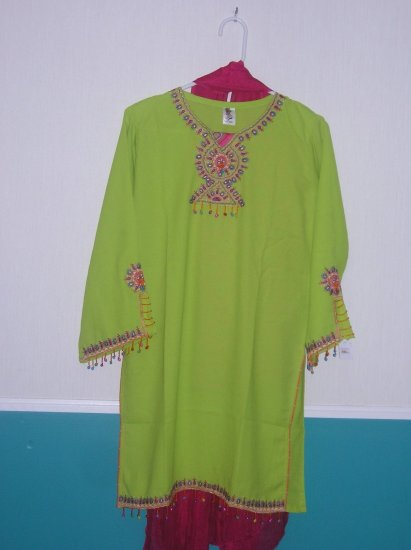 Shalwar Kameez - Green and Pink Georgette