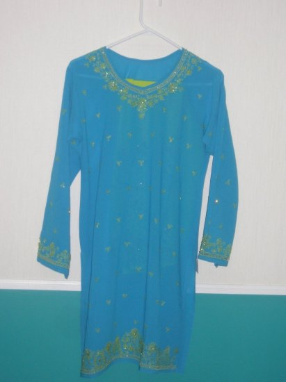 Pajama  Kameez - Blue and Green Georgette