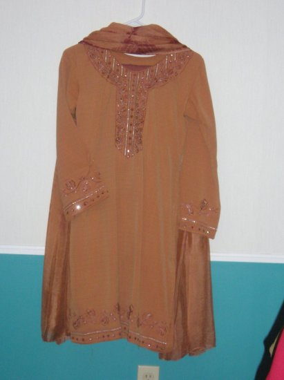 Shalwar Kameez - Brown Silk