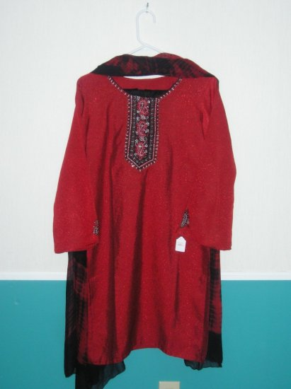 Shalwar Kameez - Red Silk