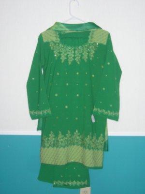 Trouser Kameez - Green Georgette