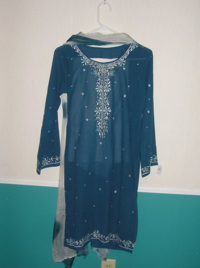 Shalwar Kameez - Dark Green and Grey Georgette