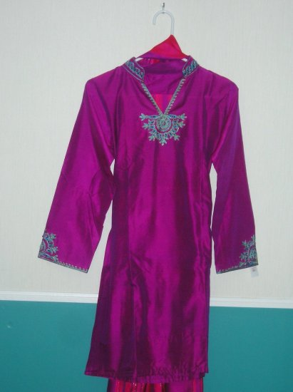 Shalwar Kameez - Purple Cotton/Silk