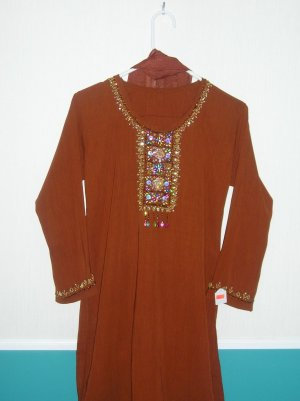Shalwar Kameez - Brown Georgette