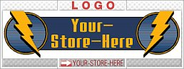 Blue & Gold Lightning Bolts Sharp eCRATER Store Y-S-H LOGO