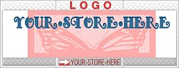 Quaint Pink Butterfly Soft Blue Pretty eCRATER Store Y-S-H LOGO