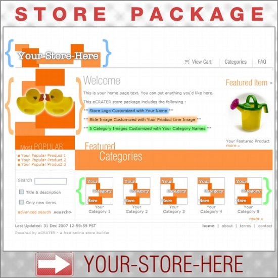 Boxy Orange with your ENHANCED PRODUCT IMAGE - Custom Y-S-H eCRATER Store Package