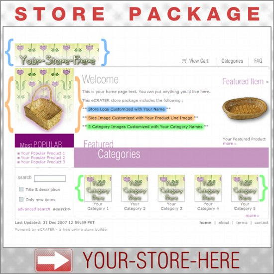 Pretty Floral with your ENHANCED PRODUCT IMAGE - Custom Y-S-H eCRATER Store Package