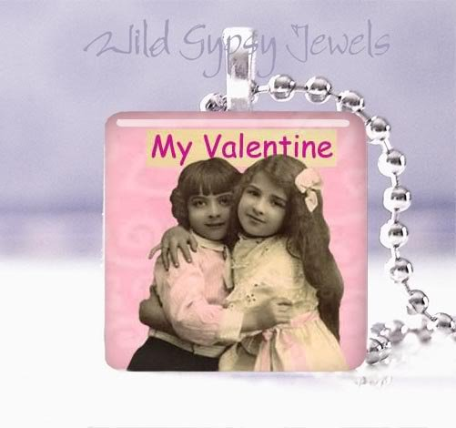 "Vintage Children PINK My Valentine 1"" glass tile Pendant necklace"
