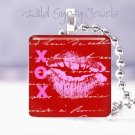 """Red Pink KISS XOXO Valentine Day 1"""" sq glass tile pendant necklace"""