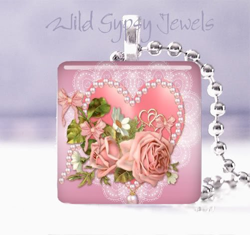 "Valentine's Day Pink roses heart 1"" glass tile pendant necklace"
