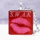 """Sealed with a kiss Hot Pink Lips S.W.A.K. RED 1"""" glass tile pendant necklace"""