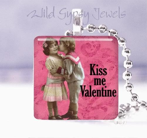 "Pink Kiss Me Valentine Vintage Children 1"" glass tile pendant necklace"