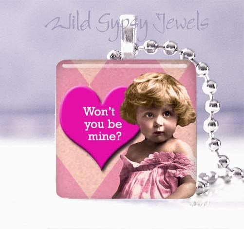 "Pink Vintage Girl BE MINE heart 1"" glass tile pendant necklace"