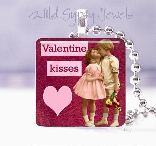 "Valentine KISSES vintage children PINK heart 1"" sq glass tile pendant necklace"