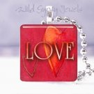 "Valentine's Day RED heart modern LOVE 1"" sq glass tile pendant necklace"