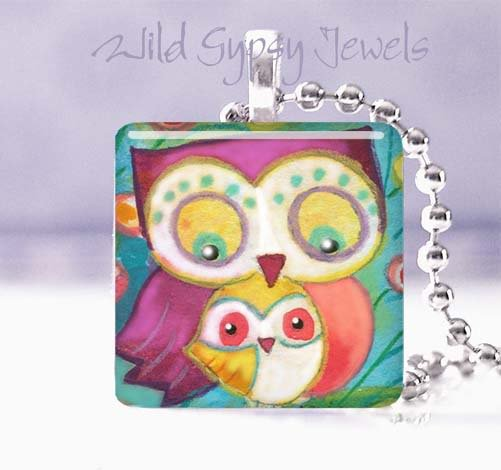 "Mother Baby Owls Peach Aqua 1"" tile pendant necklace"