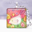 "Sweet White Bird pink lime yellow 1"" glass tile pendant  Necklace GIFT IDEA"