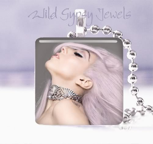 """Hot gift idea sexy Lady GaGa PINK 1"""" glass tile pendant necklace"""