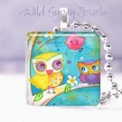 """Moon Stars Mother Baby Owls 1"""" glass tile pendant necklace"""