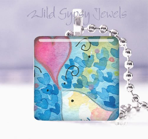 "Baby Bird PINK Heart BLUE Aqua Great GIFT 1"" Necklace"