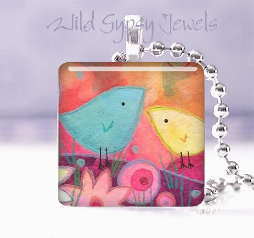 "Mom & Chick Blue Yellow Pink 1"" pendant Great GIFT IDEA"