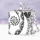 "Original BW DOODLES abstract art 1"" sq pendant NECKLACE"