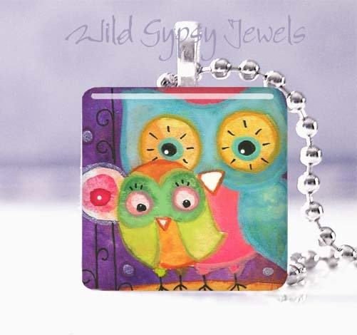 "Aqua Owl Lime Baby Mother Whimsical 1"" pendant necklace"