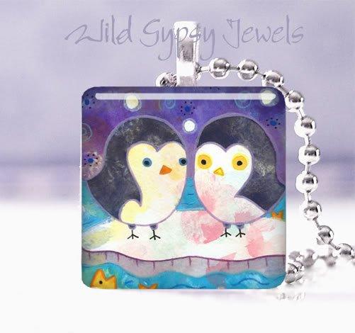 """Penguins winter iceberg ocean 1"""" glass tile pendant Necklace GIFT IDEA"""