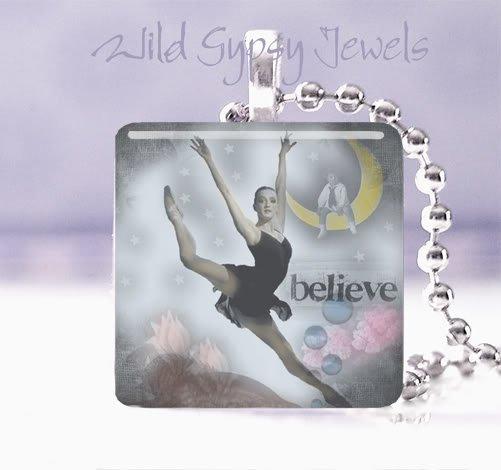 "Ballerina MOON dance BELIEVE in YOU 1"" glass tile pendant necklace"