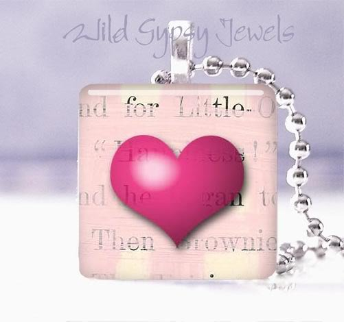 "Valentine's Day Magenta PINK HEART 1"" glass tile pendant necklace"