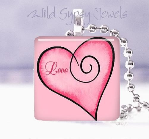 "Valentine's Day red & pink Love HEART 1"" glass tile pendant necklace"