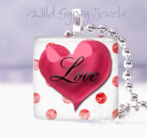 "Valentine's Day red & white HEART Polka Dot 1"" glass tile pendant necklace"