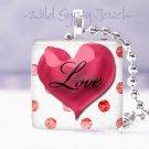"Valentine's Day red & white HEART Polka Dot 1"" glass tile pendant necklace"