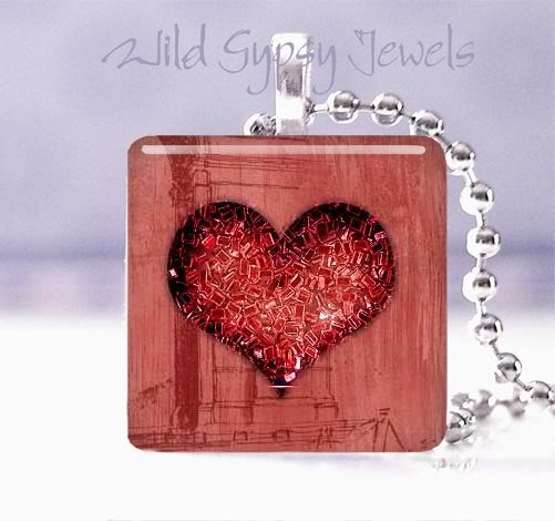 """Valentine's Day red grunge glitter heart 1"""" glass tile pendant necklace"""
