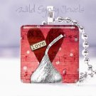 Valentine Red heart Hershey Kiss 1&quot; glass tile pendant necklace New