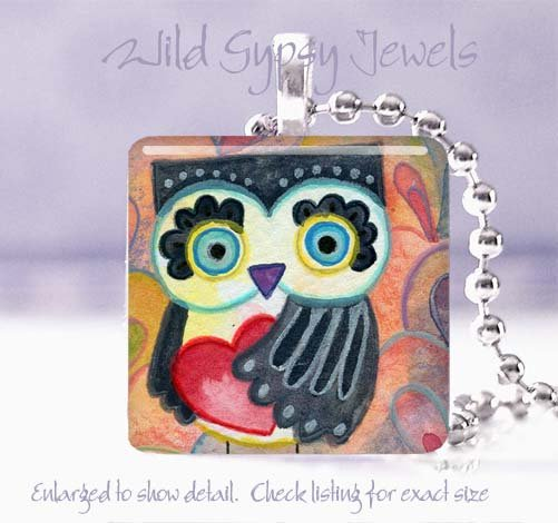"Owl big eyed Valentine's Day red HEART 1"" glass tile pendant necklace"