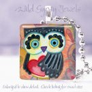 """Owl big eyed Valentine's Day red HEART 1"""" glass tile pendant necklace"""