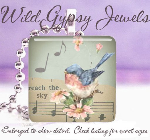 """Sweet song bird musical notes 1"""" glass pendant necklace"""
