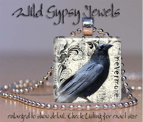 "Nevermore Crow Poe grungy punk 1"" glass tile pendant necklace"