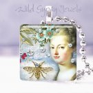 Marie Antoinette blue gold bee Victorian chic shabby glass tile pendant necklace
