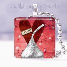 "Valentine's Day  RED HEART silver Hershey KISS 1"" glass tile pendant necklace"